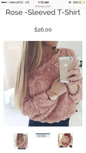 sweater,pink sweater,roses