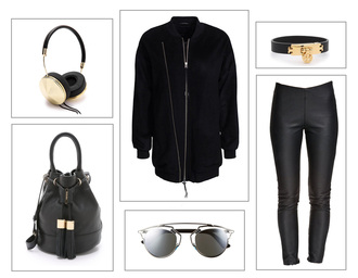 fanny lyckman blogger leather leggings bucket bag leather bag headphones black and gold earphones