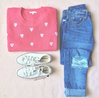 sweater jumper jeans ripped jeans style fashion