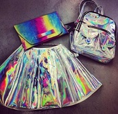 skirt,style,kawaii,holographic,skater skirt,bag