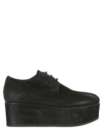 shoes platform shoes lace suede black