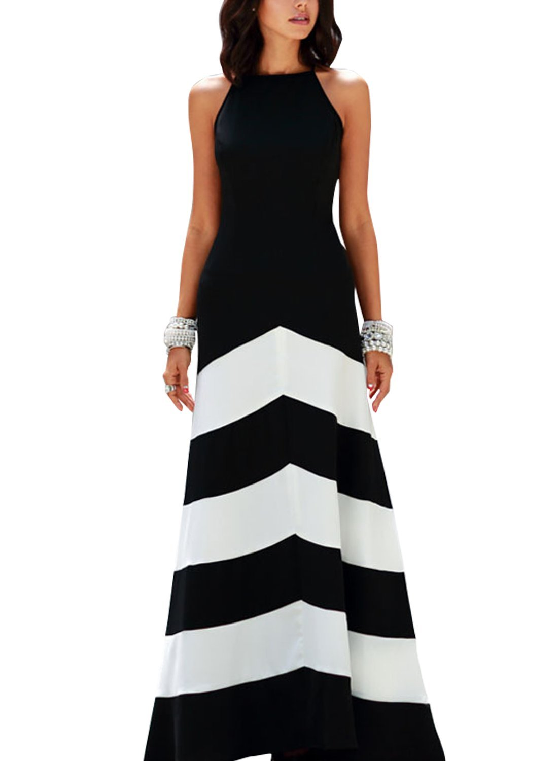 Anni coco women 39 s slim black white striped party maxi for How to get foundation out of a white shirt