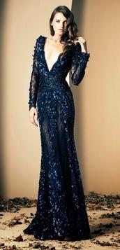 dress,prom,prom dress,blue,navy,low cut,long dress,lace blue gown,navy dress,ziad nakad,long prom dress