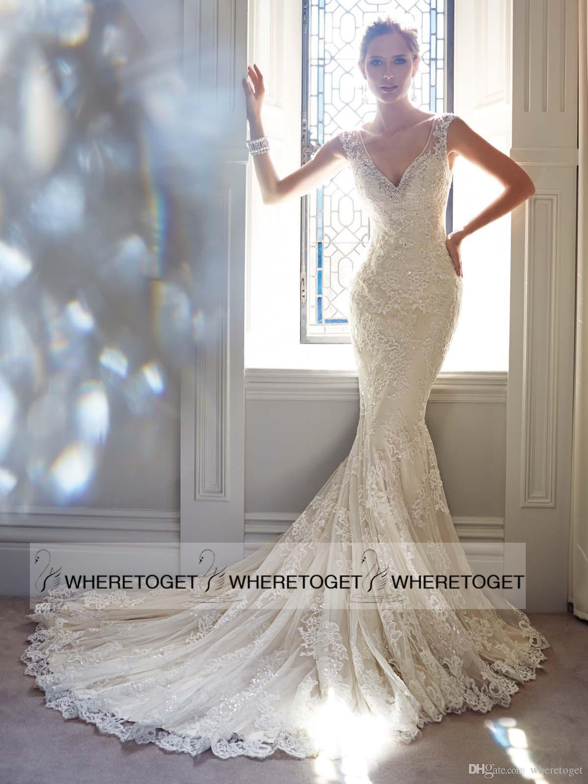 Charming slim mermaid trumpet v neck wedding dresses bodycon sheer back sleeveless bridal gowns lace court train vestidos de novia 2015 online with $196.96/piece on wheretoget's store