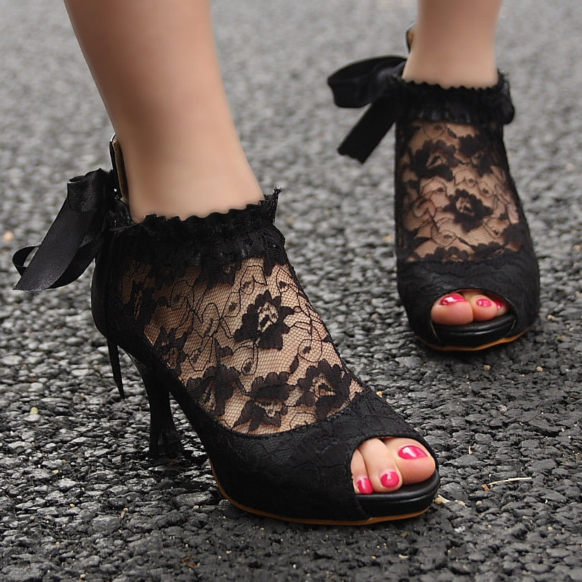 Victorian Lace Black Ribbon Mid Heels Platform Peep Toe Court Ankle Shoes