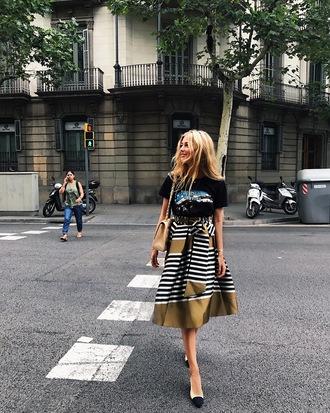 t-shirt black t-shirt tumblr skirt midi skirt stripes striped skirt shoes slingbacks chanel