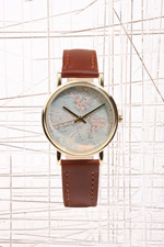 Globe Face Leather Watch at Urban Outfitters