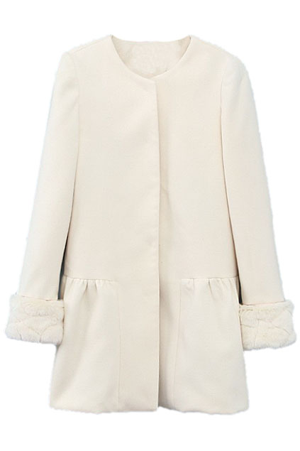 ROMWE | ROMWE Faux Fur Cuffs White Woolen Coat, The Latest Street Fashion
