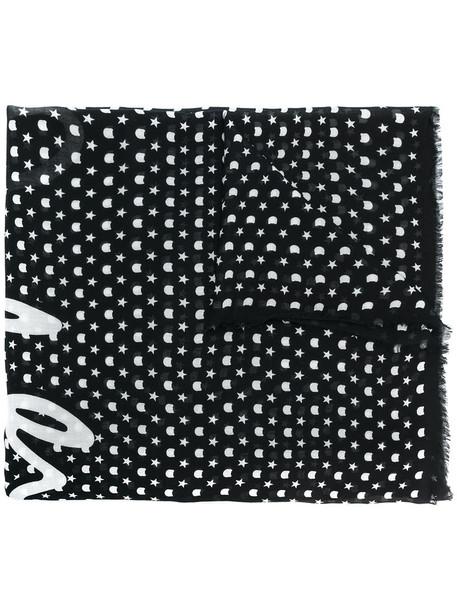 karl lagerfeld women scarf print black silk