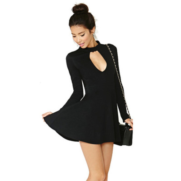 nastygal nasty gal chocker key hole dress skater dress