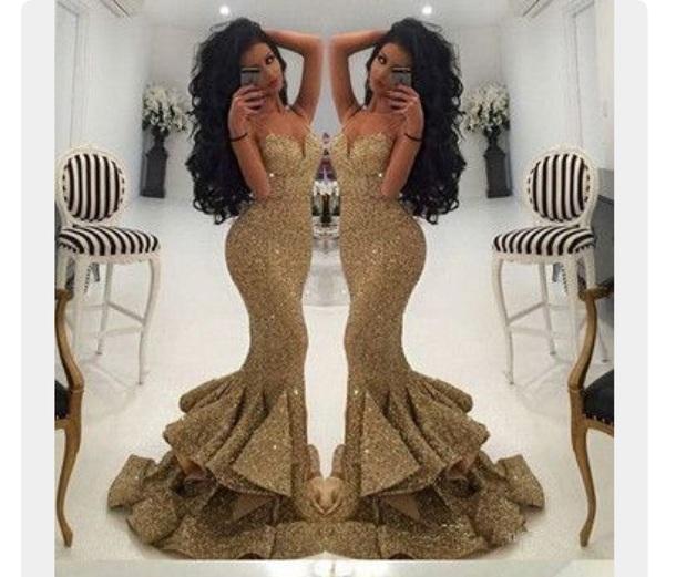 dress gold sequins mermaid prom dress spaghetti strap sweetheart neckline gold dress gold mermaid dress gold mermaid gown