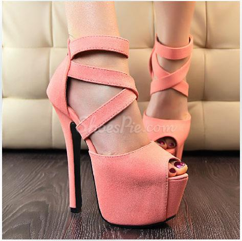 Gorgeous Solid Colour PU Peep Toe Ankle Strap Platform Sandals