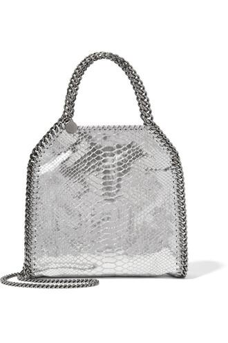 snake mini metallic bag shoulder bag leather silver