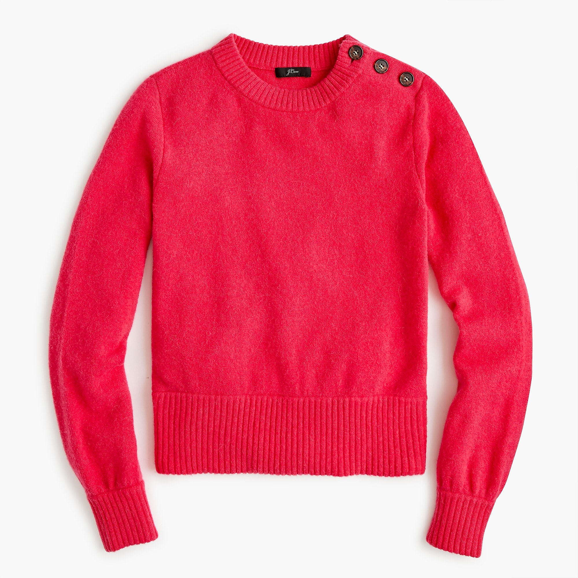 Button-detail crewneck sweater in supersoft yarn