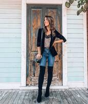 top,camisole,leopard print,leopard cami,over knee boots,blue jeans,black blazer,velvet blazer,gucci belt,small bag,lace trim,lace top
