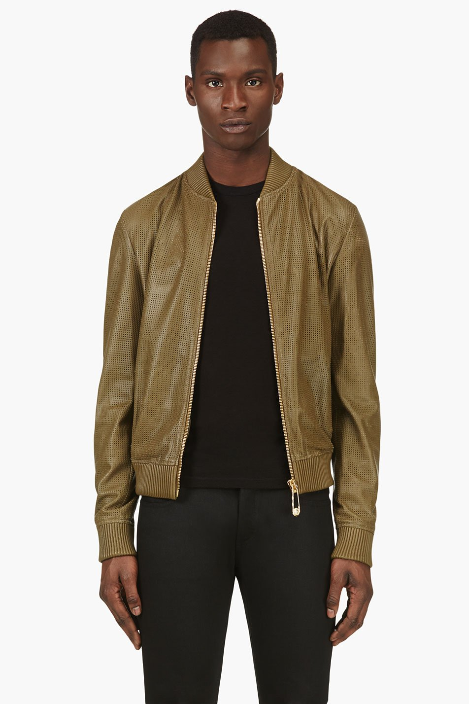 versus olive leather perforated bomber jacket