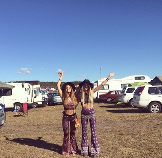bell bottoms flare print festival palazzo pants blonde hair brunette friends australia australian