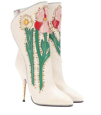 leather ankle boots embellished ankle boots leather white shoes