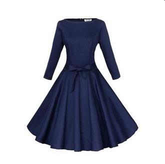 dress vintage dress bow dress long sleeve dress dark blue retro
