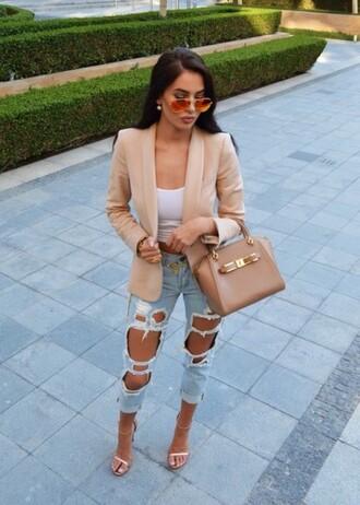 jacket blazer nude ripped jeans tumblr