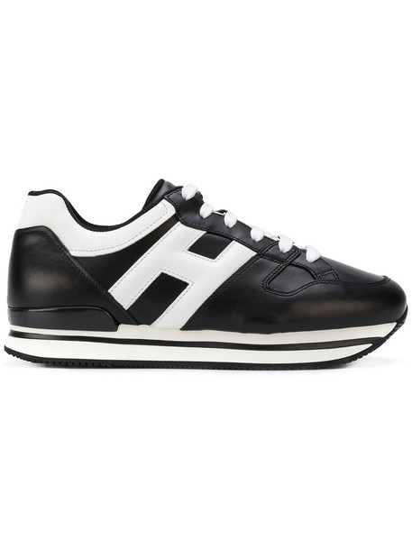 Hogan women sneakers lace leather black shoes