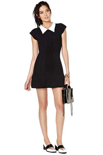 unif clothes black and white unif x nasty gal sweater dress short dress wednesday adams black black dress 60's dress