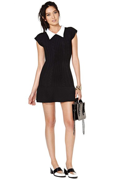 unif clothes black and white unif x nasty gal sweater dress short dress wednesday adams black black dresses 60's dress