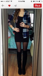 dress,black,plaid,blue,cute,shirt,shoes,sunglasses,sweater,little black dress,boots,tomboy,black dress and the flannel shirt,black flannel