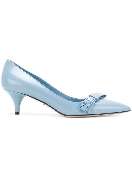 Prada bow fur women pumps leather blue shoes