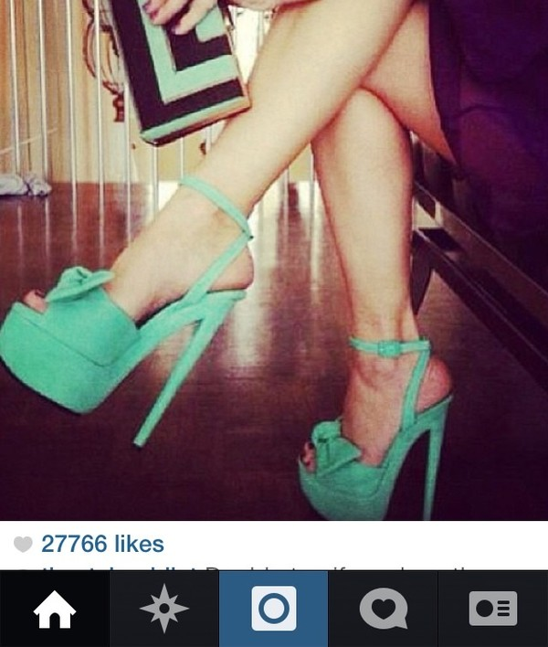 shoes teal high heels bow
