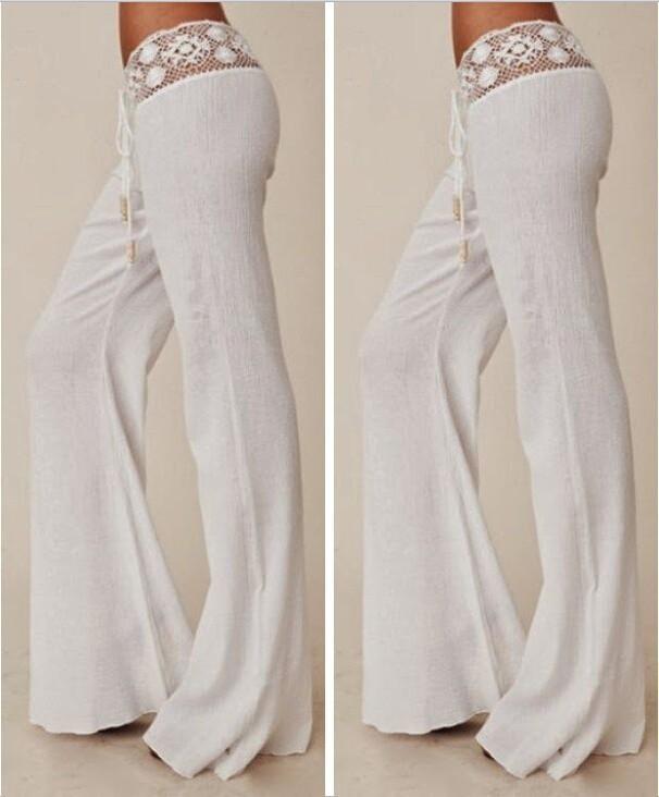 blanco de Mujeres Envío nuevas largos pantalones Elegantes pantalones de sueltos Encaje Pierna Sexy Mujeres de 2016 Pantalones Las largos pantalones Ancha nXHpRwTn