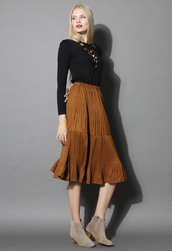 skirt,pleated suede frilling skirt in camel,chicwish,camel,suede