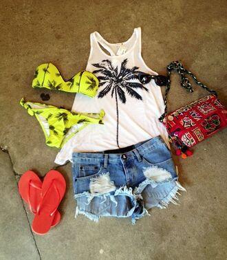 swimwear bikini yellow palm tree beach summer clothes shorts pinapples tank top