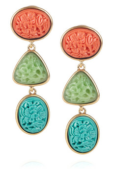 Plated cabochon clip earrings