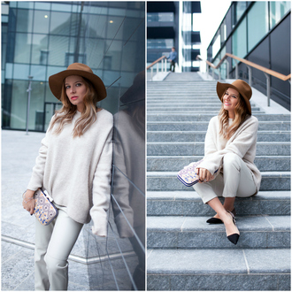 hat blogger oversized the fashion fruit cropped pants pouch pointed toe