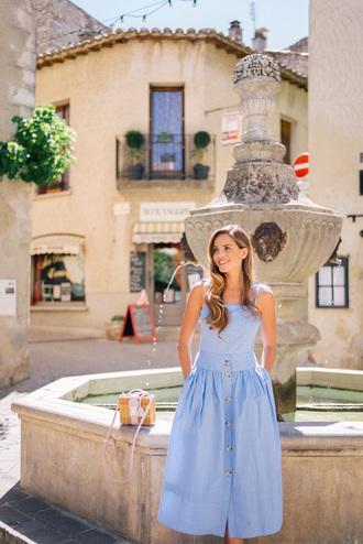 dress tumblr midi dress blue dress bag basket bag summer dress summer outfits vacation outfits