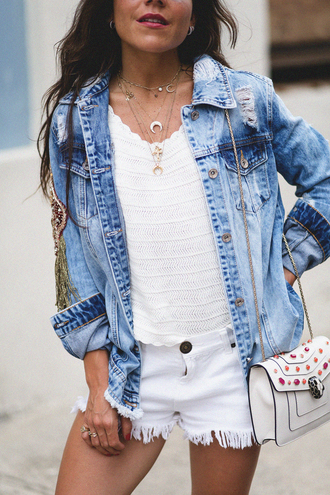 jewels tumblr jewelry silver jewelry top white top jacket denim jacket denim shorts white shorts crescent pendant bag white bag embelished bag embellished frayed denim stacked jewelry gold gold necklace gold jewelry layered gold choker choker necklace necklace horn horn necklace