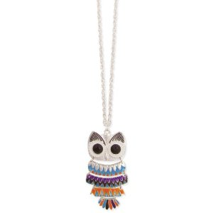 Amazon.com: Bright Enamel Owl Necklace: Jewelry