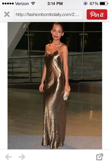 dress nicole richie gold