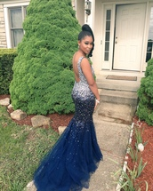 dress,sequins,sequin dress,prom dress,prom gown,prom,blue,dark blue