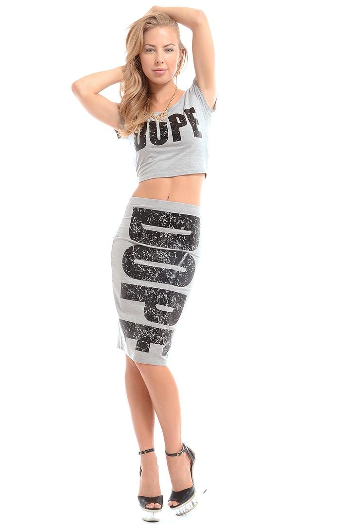 I'm So Dope Skirt - Gray from ROXX at ShopRoxx.com