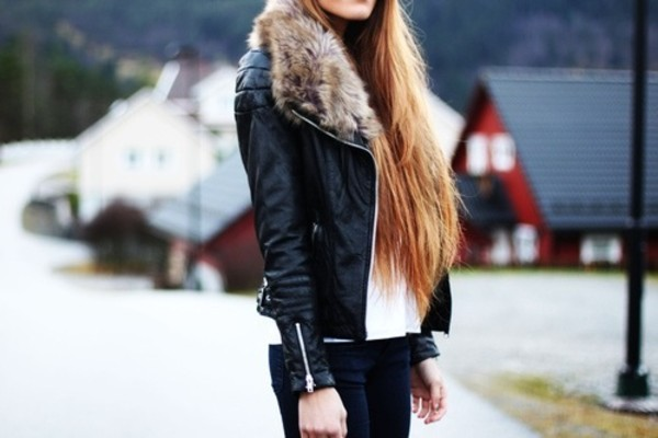 jacket leather jacket fur kristine ullebø prom dress