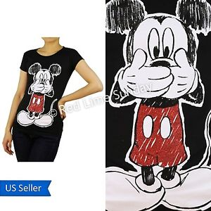 Disney Black Mickey Mouse Red Glitter Print Cotton Color T Shirt Top Junior New