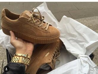 shoes puma seude fenty white puma rihanna creeper brown shoes fenty x puma rihanna sneakers puma creepers puma x rihanna nude beige
