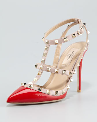 Valentino Rockstud Two-Tone Patent Sandal, Red  - Neiman Marcus