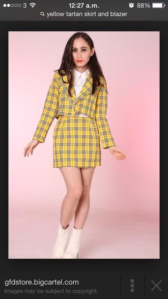 blouse clueless yellow tartan skirt tartan blazer