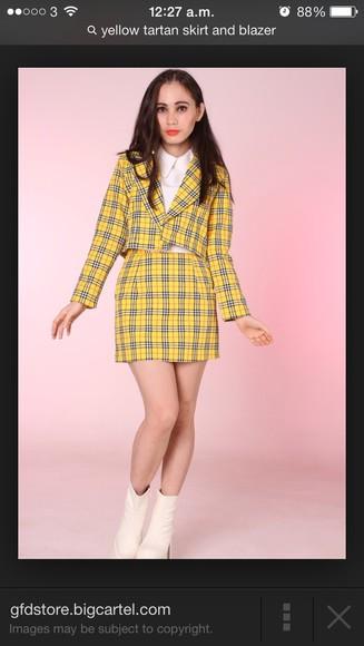 blouse tartan skirt clueless yellow tartan blazer
