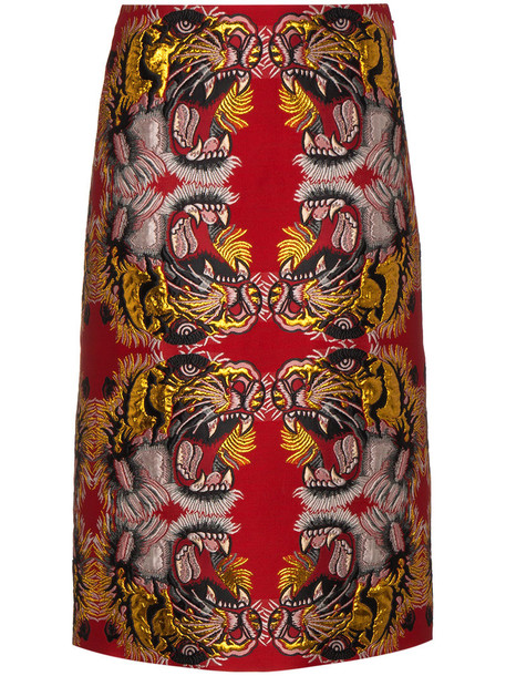 gucci skirt women jacquard cotton silk red