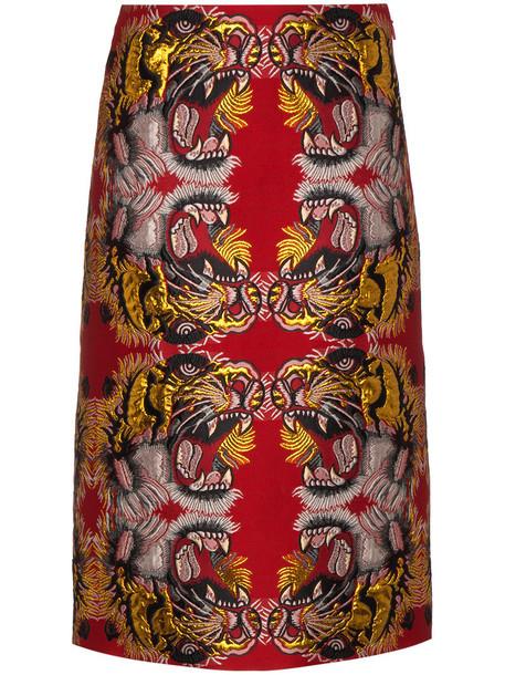 skirt women jacquard cotton silk red