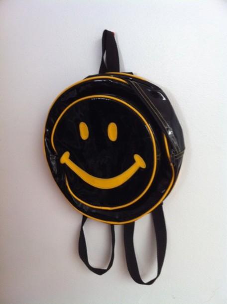 smiley face backpack bag